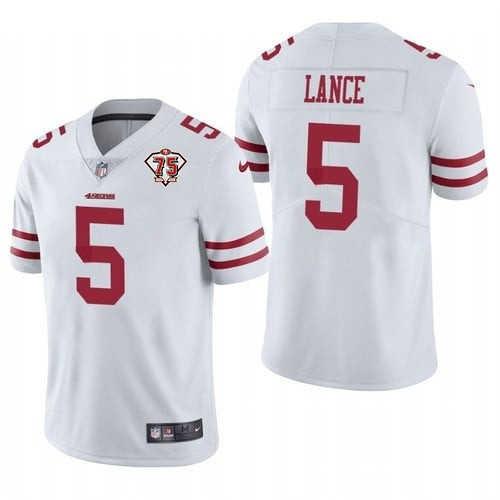 Men's San Francisco 49ers #5 Trey Lance 2021 Draft White 75th Anniversary Vapor Untouchable Stitched NFL Jersey