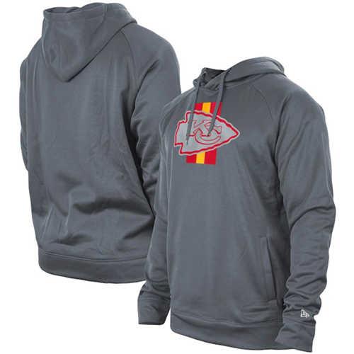 Men's Kansas City Chiefs Gray New Era Training Camp Raglan Pullover Hoodie
