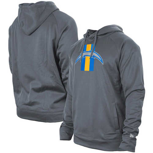 Men's Los Angeles Chargers Gray New Era Training Camp Raglan Pullover Hoodie