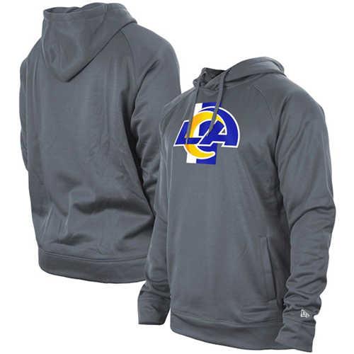 Men's Los Angeles Rams Gray New Era Training Camp Raglan Pullover Hoodie