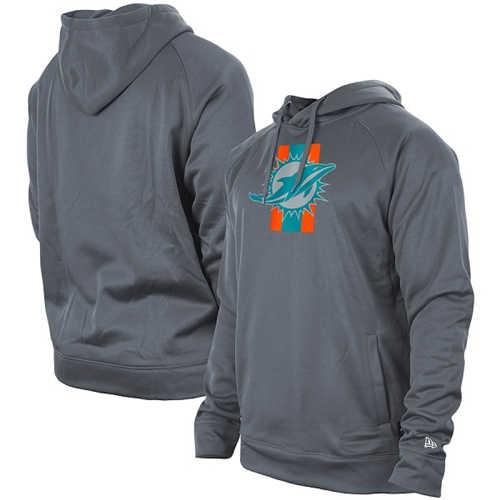 Men's Miami Dolphins Gray New Era Training Camp Raglan Pullover Hoodie