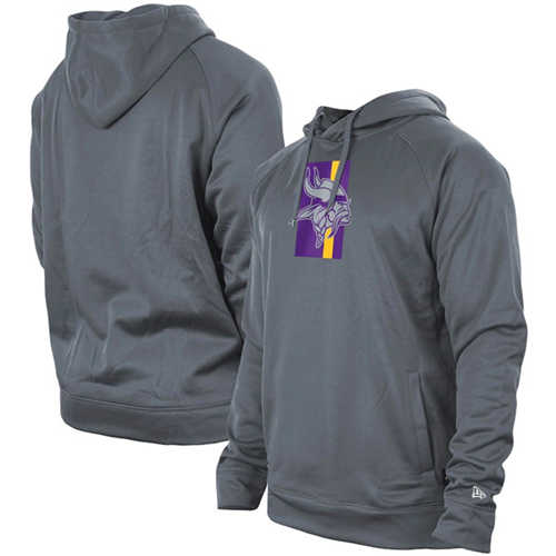 Men's Minnesota Vikings Gray New Era Training Camp Raglan Pullover Hoodie