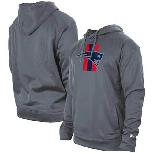 Men's New England Patriots Gray New Era Training Camp Raglan Pullover Hoodie