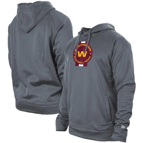 Men's Washington Football Team Grey New Era Training Camp Raglan Pullover Hoodie