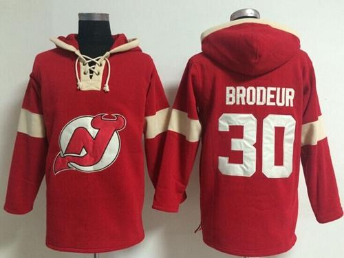 New Jersey Devils #30 Martin Brodeur Red Pullover NHL Hoodie