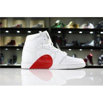 New Air Jordan 1 High White/Half Heart Women's and Men's Size Shoes