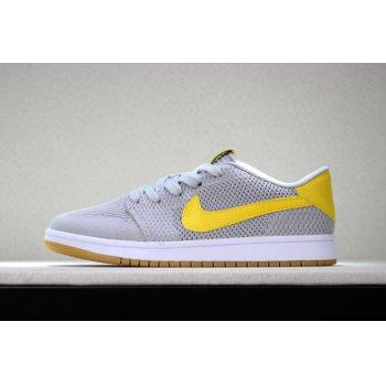 New Air Jordan 1 Low Flyknit Wolf Grey/Yellow-Gum Men's Basketball Shoes Shoes