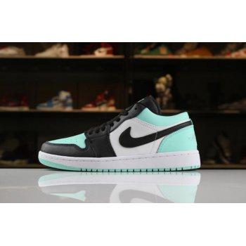 New Air Jordan 1 Low White/Emerald Rise-Black 553558-117 Shoes
