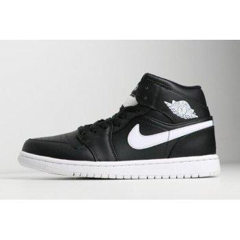 New Air Jordan 1 Mid Black/White-White 554724-038 Shoes