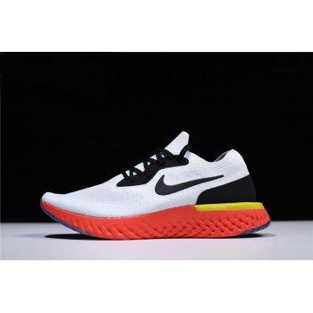 Nike Epic React Flyknit True White/Black-Pure Platinum-Bright Crimson-Volt AQ0067-103 Shoes