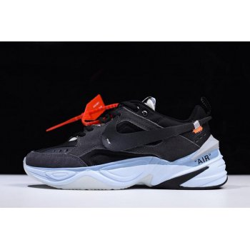Off-White x Nike M2K Tekno Black/Grey-Light Blue Men's and Women's Size A03108-053 Shoes
