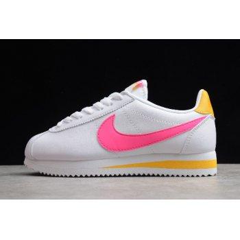 Wmns Nike Classic Cortez Leather White/Fuchsia-Laser Orange 807471-112 Shoes