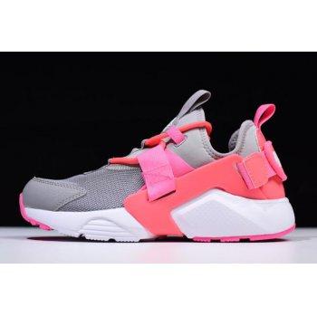 Women's Nike Air Huarache City Low Cream Grey/Sun Red-White Pink AH6804-007 Shoes