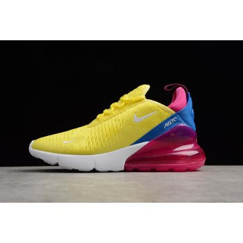 Women's Nike Air Max 270 Bright Lemon Yellow/White-Racer Blue Shoes